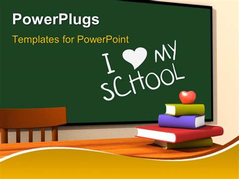 Powerpoint Template Classroom With Multicolor Books And Keyword I Love My School On Chalkboard Classroom Powerpoint Templates