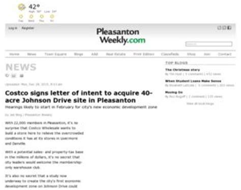 Letter Of Intent Sle Costco Costco Signs Letter Of Intent To Acquire 40 Acre Johnson Drive Site In Pleasanton Costco