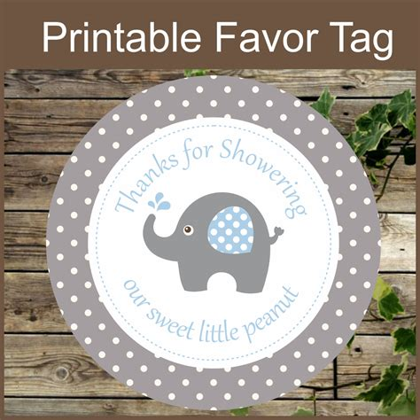 printable elephant name tags elephant favor tags grey and blue baby shower favor tags