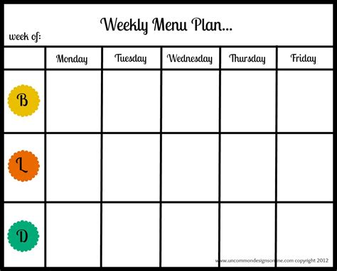 printable monthly meal planners kitty baby love