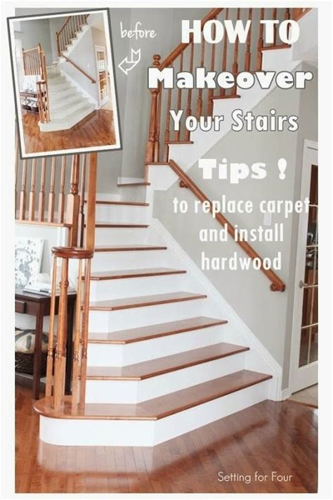 how to makeover your stairs tips to replace carpet and install hardwood paint colors