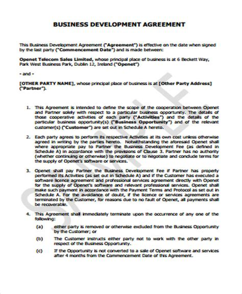 business development agreement template 37 basic agreement templates free premium templates
