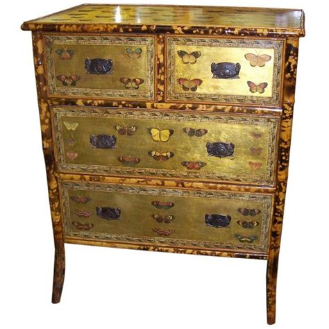 Decoupage Chest Of Drawers - antique bamboo chest of drawers with butterflies decoupage