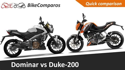 Bajaj Ktm Duke 200 Mileage Bajaj Dominar Vs Ktm Duke 200 Comparison Review