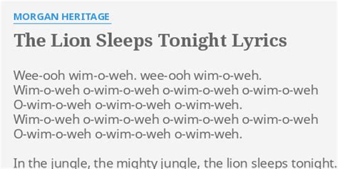 the sleep tonight testo quot the sleeps tonight quot lyrics by heritage wee