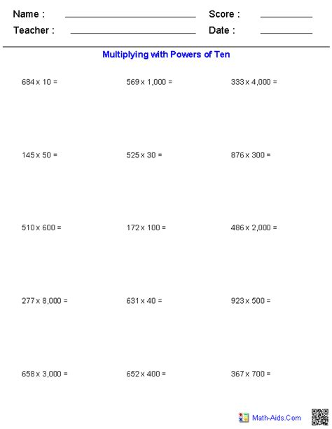 Powers Of Ten Worksheets 5th Grade by Multiplying With Powers Of Ten Worksheets Math