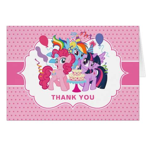 my pony thank you card template my pony pink birthday thank you card zazzle