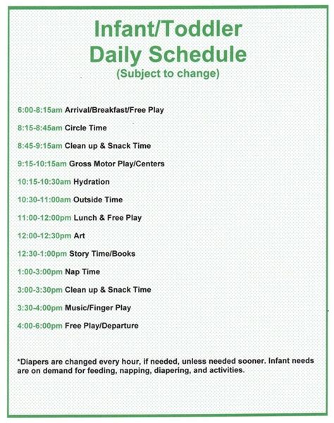 child care daily routine template infant and toddler program daycare infant