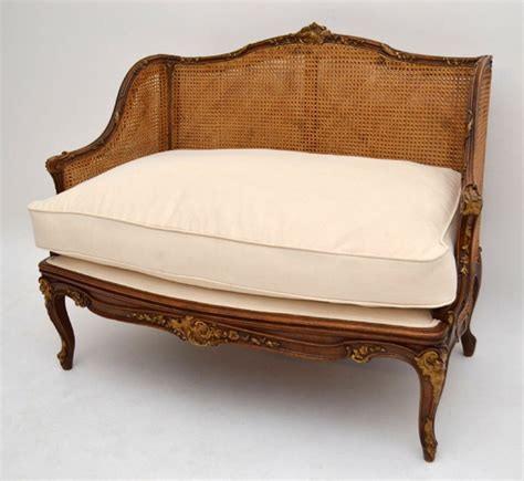 cane loveseat antique french carved walnut cane sofa 339673