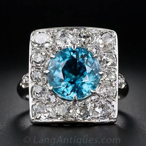 antique blue zircon and ring
