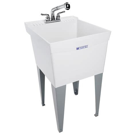 laundry sink shop mustee 20 in x 24 in white freestanding polypropylene utility sink with drain and faucet at