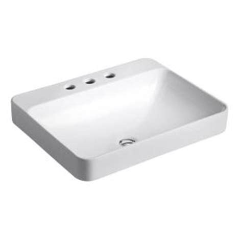 home depot kohler bathroom sink kohler vox above counter bathroom sink in white 2660 8 0