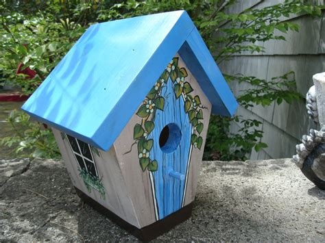 handmade painted bird house blue country collection