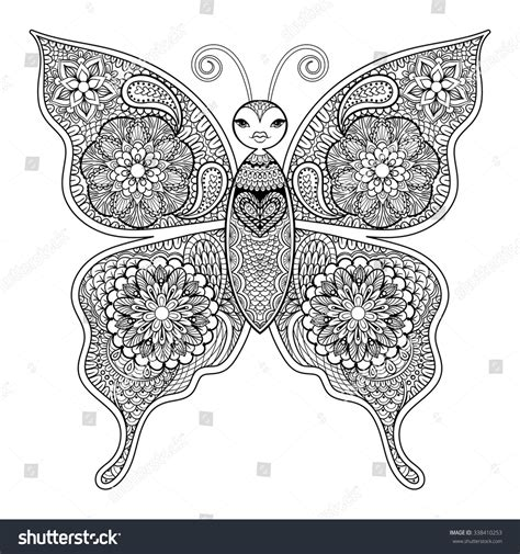anti stress colouring book doodle and zentangle vector butterfly anti stress stock vector