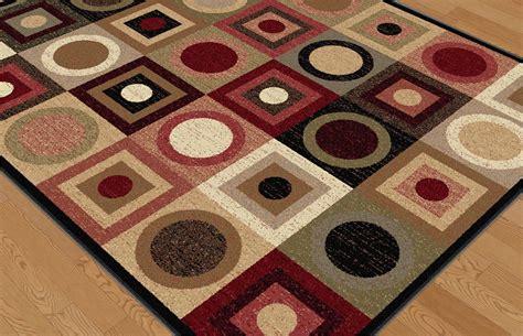 squares rug modern multi geometric circles squares area rug black contemporary carpet ebay