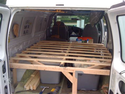 van bed how to build a wooden bedframe in a van down by the river