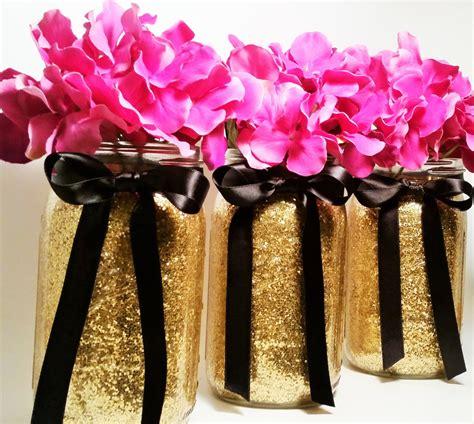 mason jar wedding centerpieces gold and black