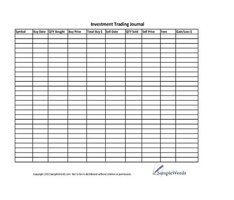 Investment Stock Trading Journal Spreadsheet Personal Financial Budgeting Pinterest Option Trading Journal Template