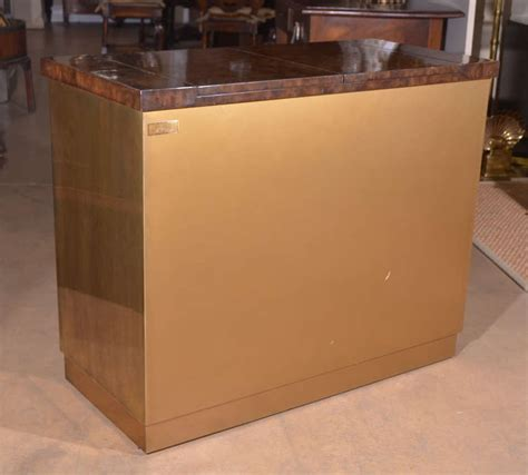 mastercraft brass burl wood flip top bar cabinet at 1stdibs