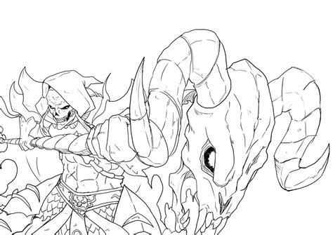 anime style skeletor perspective line art by jazylh on