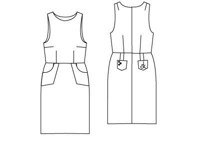 online pattern download technical drawing of the free pinafore dress sewing