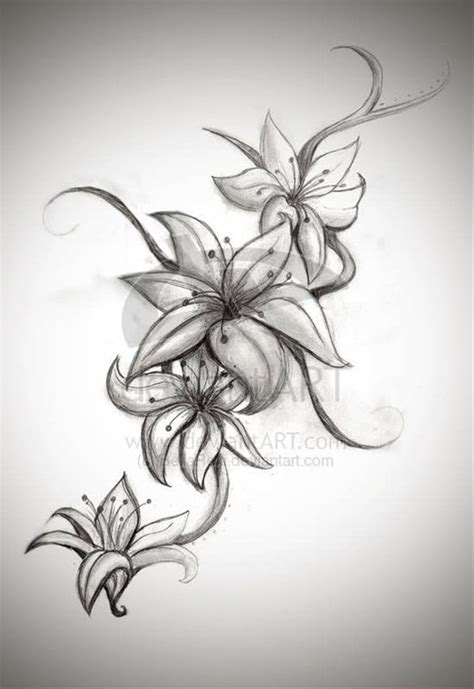 drawn tattoo lily pencil and in color drawn tattoo lily