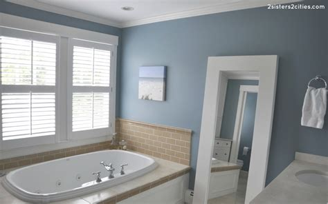 bathroom paint ideas benjamin master bathroom paint color reveal jamestown blue 2