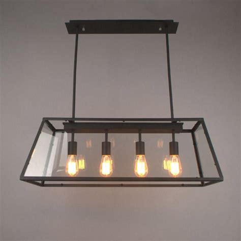 breakfast room lighting fixtures loft pendant l retro american industrial black iron rectangular chandelier living room dining