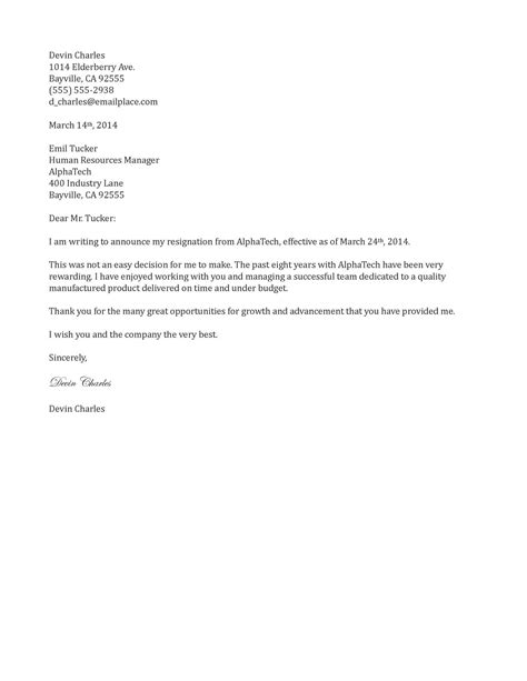 Thank You Letter Of Resignation 2 week notice resignation letter template letter
