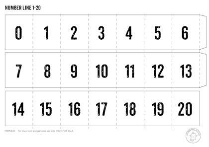 printable number cards 0 20 printable number line mr printables