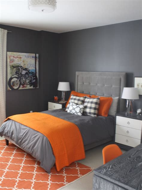 orange bedrooms astonishing contemporary bedroom in grey wall painting