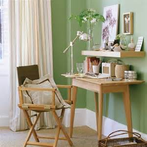Soft green office adding colour to a home office decorating with