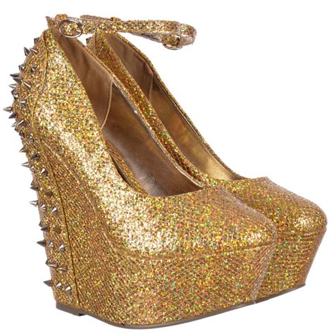 onlineshoe sparkly gold glitter wedge platform shoes ankle