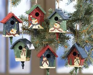 country birdhouses w snowmen christmas ornaments