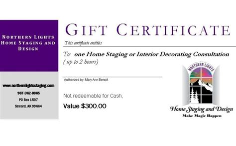 design stage certificate home staging and design gift certificate