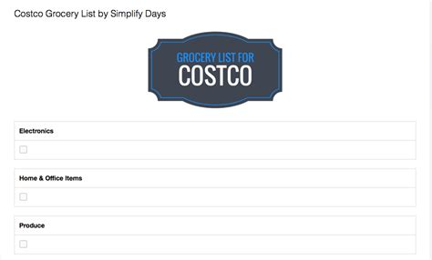 costco shopping list template costco grocery list template simplify days