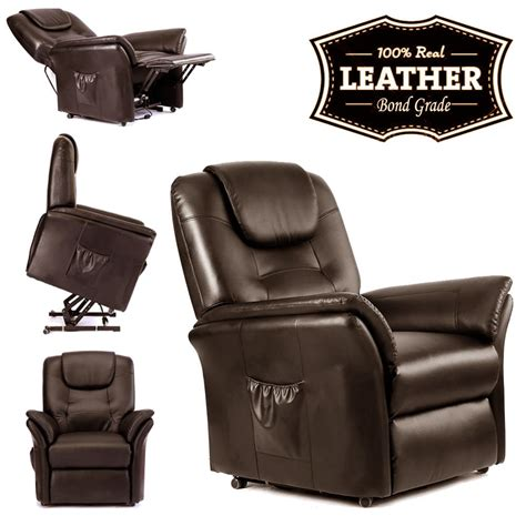 Real Leather Recliner Sofa Brown Electric Rise Recliner Real Leather Armchair Sofa Lounge Chair Ebay