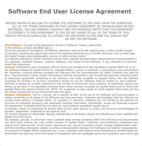 user agreement template end user license agreement 7 free sles exles