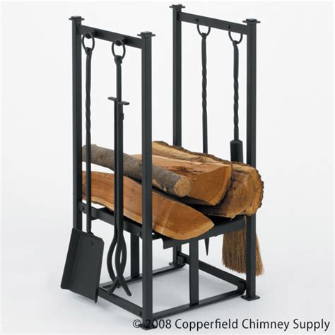 woodfield black wood holder with fireplace tools