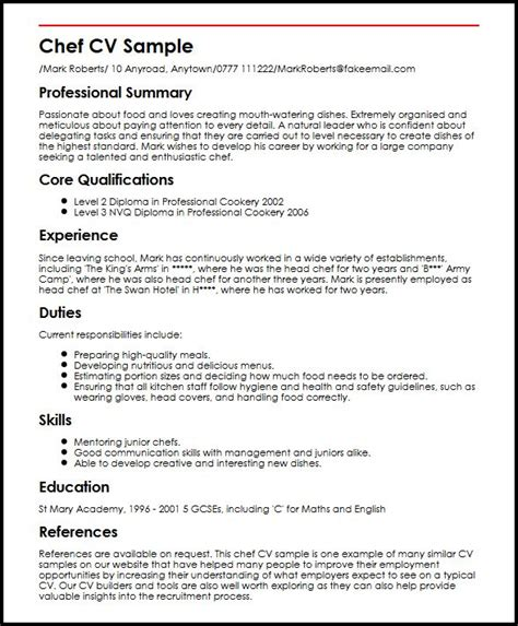 Exle Resume Chef Cook Chef Cv Sle Myperfectcv