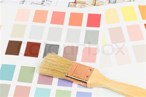 paint color sle catalog with brush and drawing stock photo colourbox