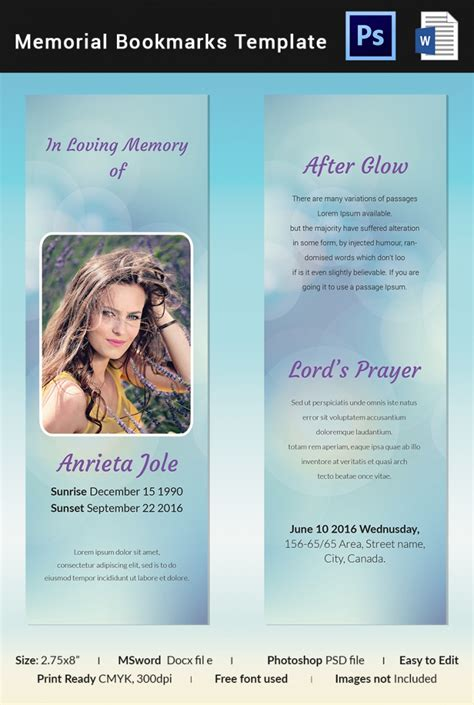 memorial card template photoshop free 5 memorial bookmark templates free word pdf psd