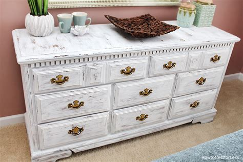 distressing chalk painted furniture distressed white dresser makeover how to nest for less