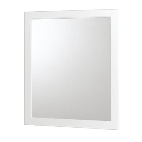 white bathroom mirrors shop allen roth castlebrook white 30 in h x 36 in w