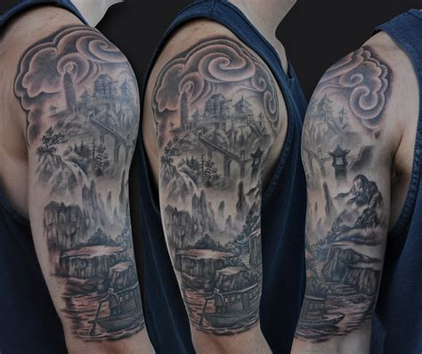 right arm tattoo designs grey ink sian scenery on right half sleeve
