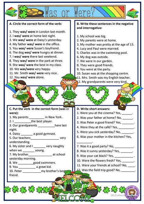 free printable worksheets was were was or were worksheet free esl printable worksheets