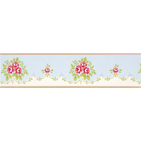shabby chic wallpaper border blue 550292 floral bouquet boutique whitewell