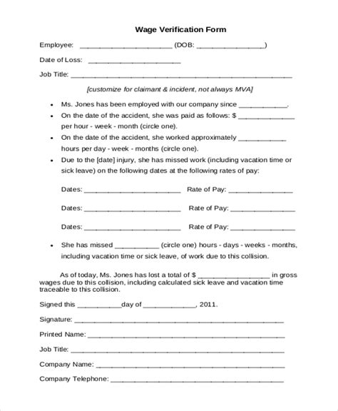 wage agreement template sle wage verification form 9 free documents in pdf