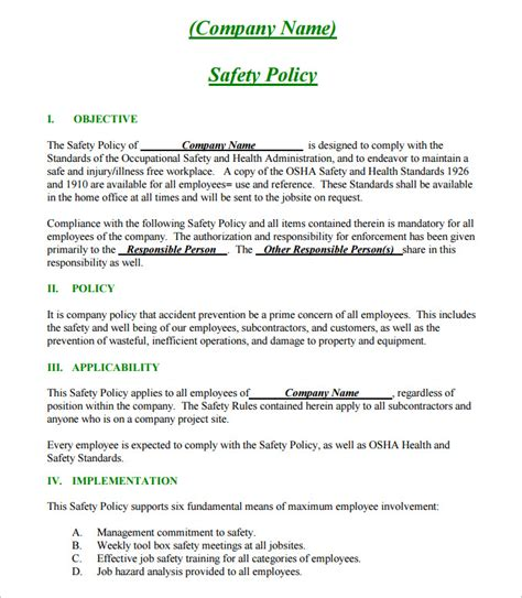 company safety policy template construction safety plan template 17 free word pdf