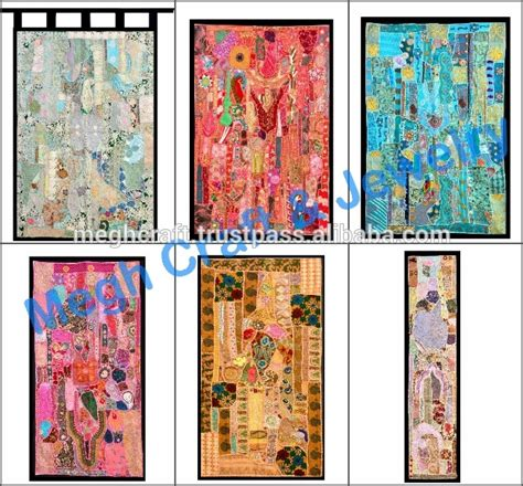 ethnic indian wall hanging cotton embroidered tapestries